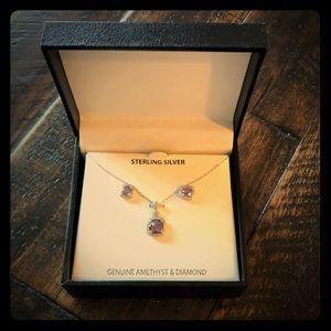 Genuine Amethyst and Diamond Set